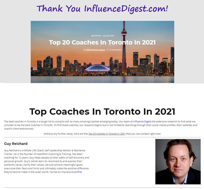 InfluenceDigest.com website image of Top 20 Toronto Life Coach Guy Reichard